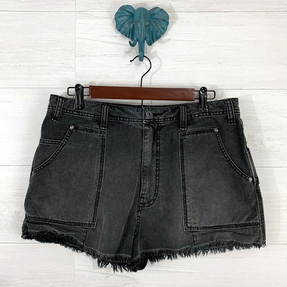 Free People Pants - Free People Faded Black Wash Denim Shorts